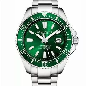 BRAND NEW men's Sturhling diving watch in green!